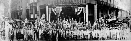 This extraordinarily detailed photograph presents a comprehensive portrait of the students and faculty of the Quong Kow Chinese School at 18 Oxford Street during the 1931 graduation ceremony. (CHSNE collection)